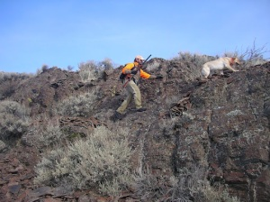 Matt Lucia and Darby scale a rock face in search of chukars