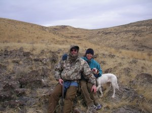 Shawn, Karen and Ginny Girl on a banner chukar hunt in 2005.