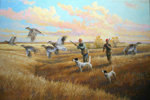This painting depicts one of  Quail Hunting Painting