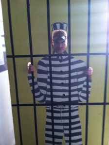 While in Rawlins, we even visited the old Territorial Prison and Scott took this picture of me in the museum.  How fitting, given our predicament!