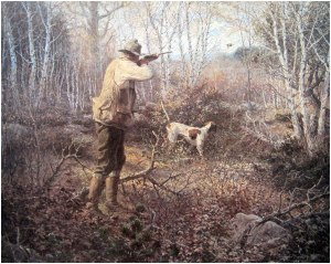 This beautiful painting by William Harnden Foster graces the cover of his classic book, New England Grouse Shooting.
