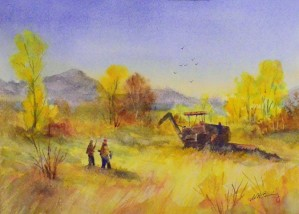 This is a painting by Walter from our sharptail hunt in 2008,