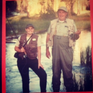 Dad and Jodi on the Buffalo River.  Dad never had much sense of style, but he still rocked!