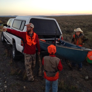 Scott Johnson and his sons, Brigham and Cole, get ready for the hunt.